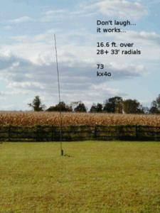16 foot vertical antenna over radial wires