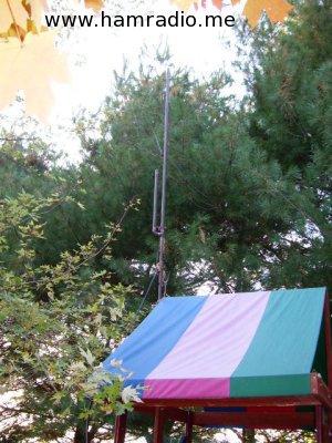 Copper J-Pole Antenna on Play Set