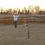 KJ4FAJ lefts the 43 foot antenna