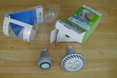 LED Lamps next to their packaging