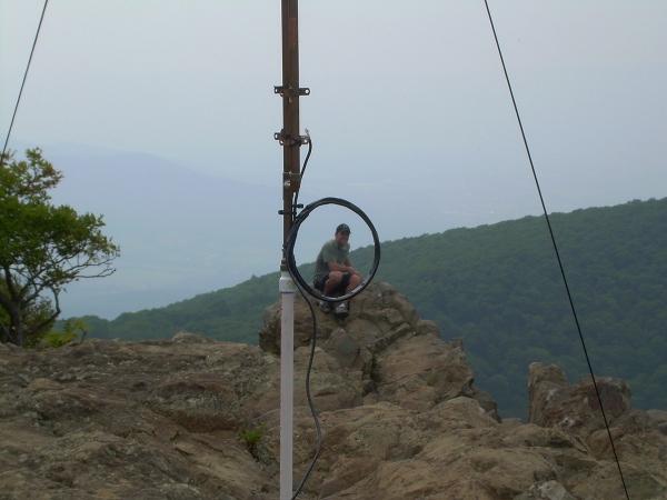 Rob as seen through the 2m Collinear J-Pole Coil Choke