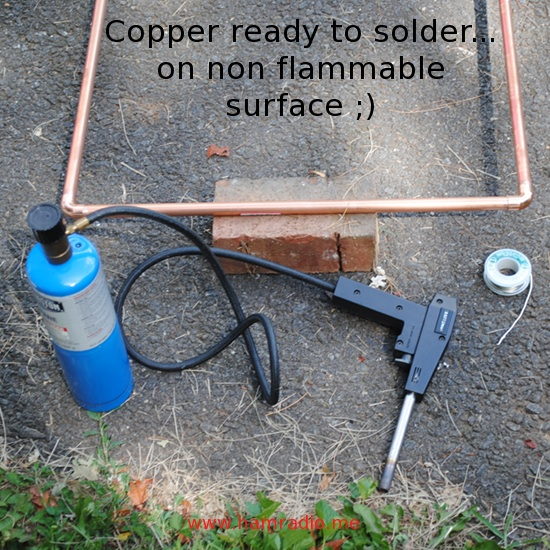 Use a torch to solder the loop. Be alert for air expansion pushing the joints apart.