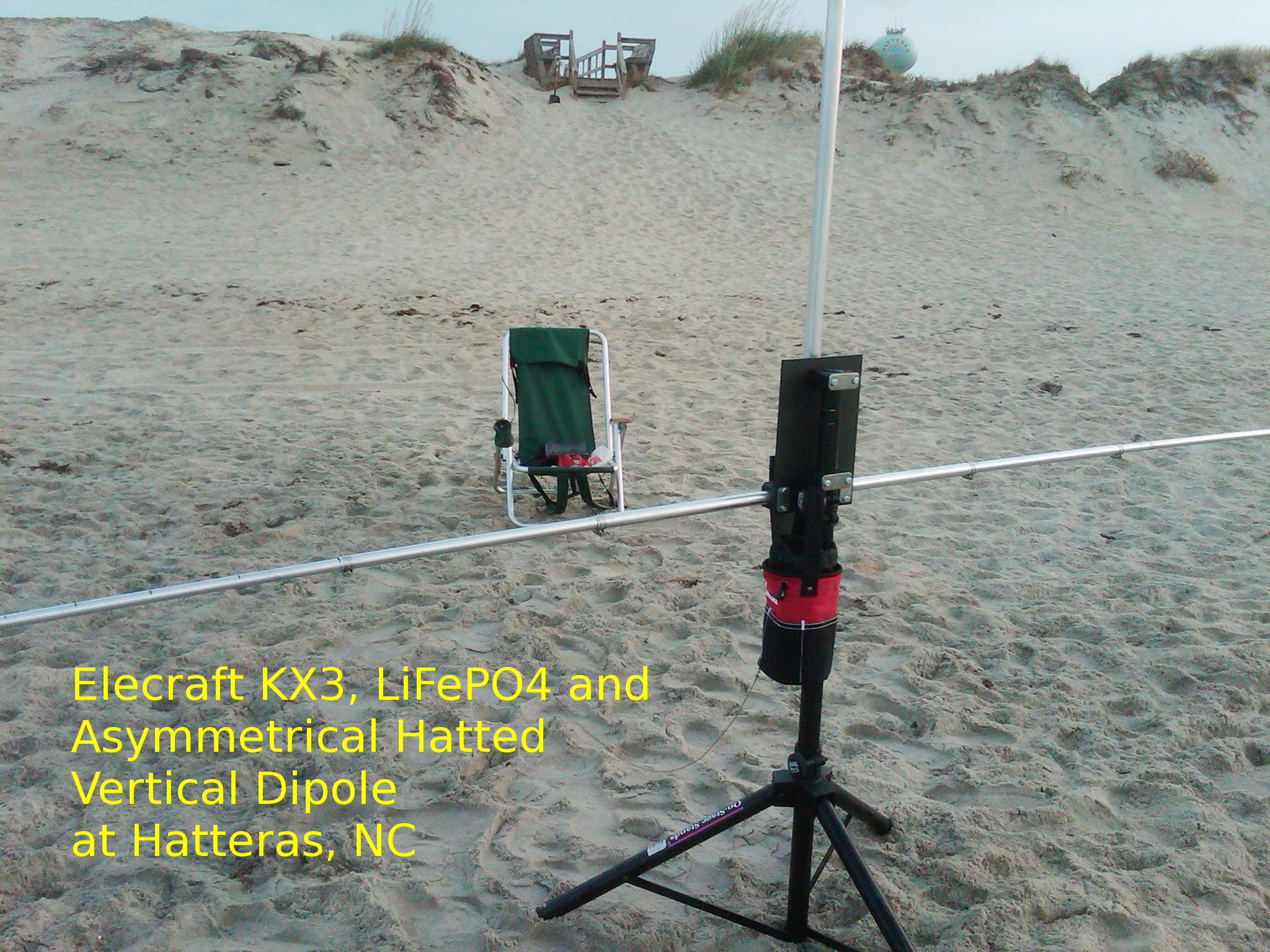 Hatteras Shack with the Asymmetrical Hatted Vertical Dipole antenna