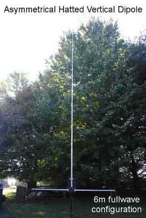 Fullwave size 6m Asymmetrical Hatted Vertical Dipole antenna.