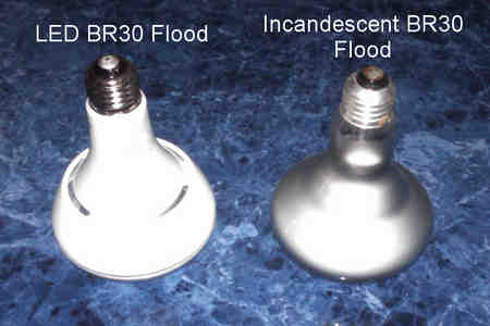 Phillips 13 watt LED vs Incandescent BR30 Sideview