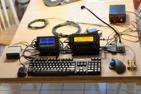 Breadboard of Elecraft KX3, PX3 portable station.