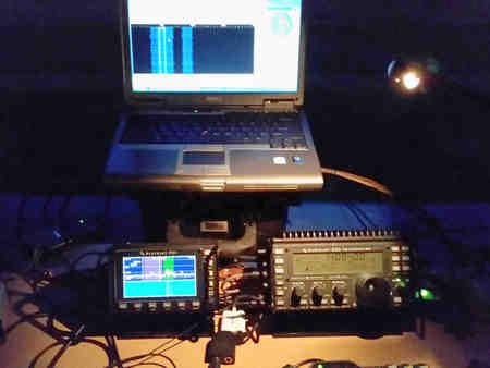 Nightime view of the Elecraft KX3 and PX3 for ARRL Field Day 2015.