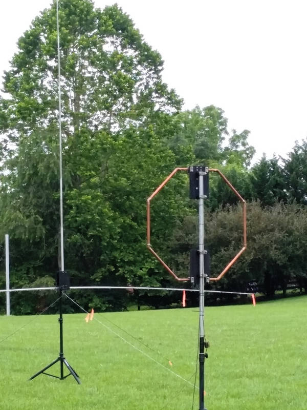 The 20m AHVD and 40m small loop antennas during KX4O 1B VA field day.