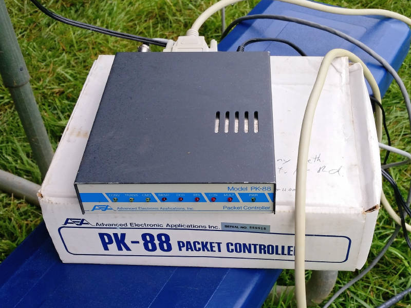 Throwback AEA PK-88 Terminal Node Controller used for packet radio Field Day NTS messages.