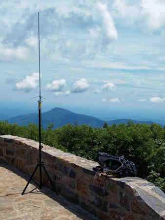 Diamond X50 antenna, Kenwood TM-D710A and 10 AH LiFePO battery atop Hawksbill Mountain during the 2016 Appalachian Trail Golden Packet.
