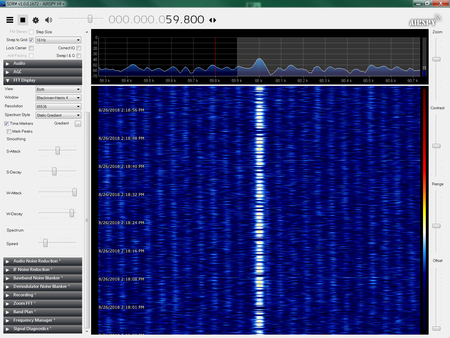 SDR# software v1.0.0.1672 recording a full minute frame of WWVB
