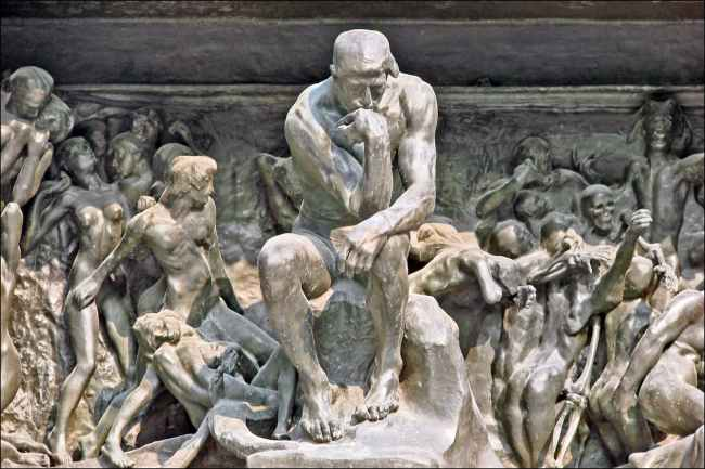 The Thinker in The Gates of Hell. (Courtesy Wikipedia)