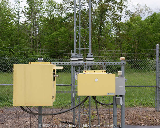 Transmitter and insulated tower supports for low frequency MSQ Culpeper beacon.