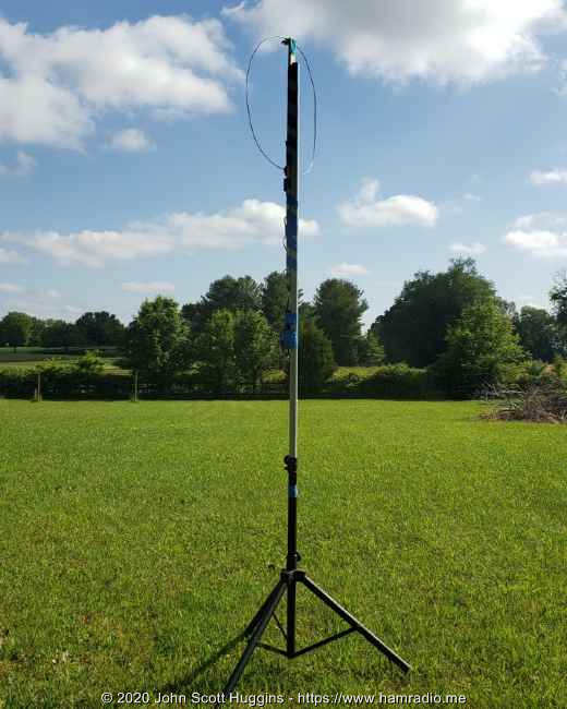 The Airspy YouLoop antenna portable test assembly on eight foot non-conductive mast.