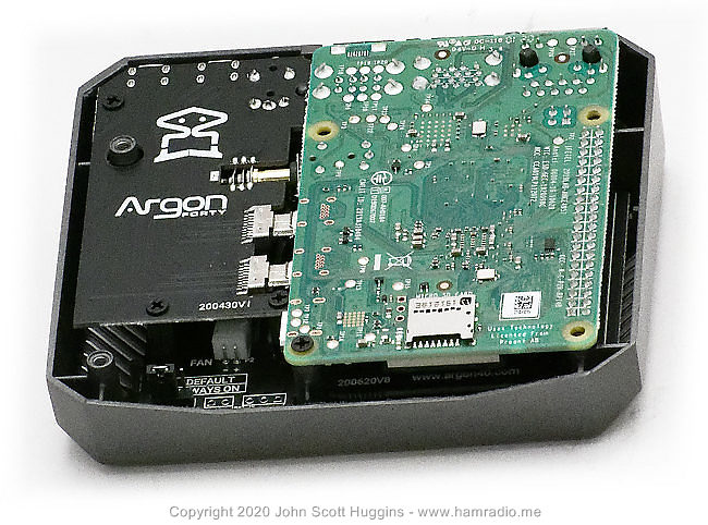 Argon One Raspberry Pi 4 case with R-Pi 4 installed.