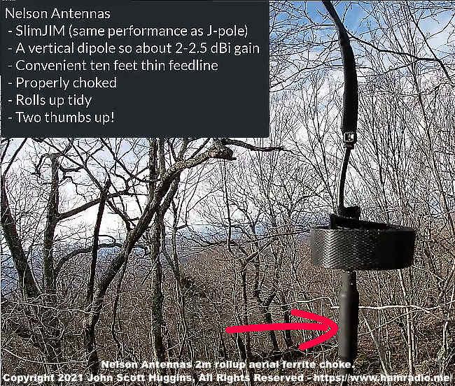 Nelson Antennas 2m rollup aerial ferrite choke.